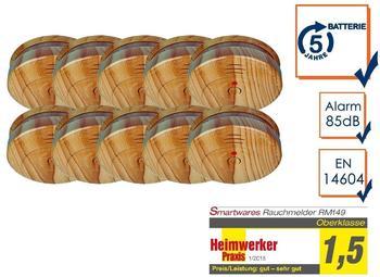 Smartwares 10er-SET Rauchmelder in Holzoptik mit austauschbarer 5 Jahres Batterie
