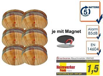 Smartwares 6er-SET Rauchmelder in Holzoptik mit 5 Jahres Batterie & Easy Magnetmontage