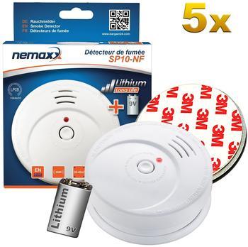 Nemaxx 5x Nemaxx SP10-NF Rauchmelder - hochwertiger Rauchwarnmelder mit sensibler fotoelektrischer Technologie nach DIN EN 14604 mit NF-Zertifikat + 5x Nemaxx Magnethalterung