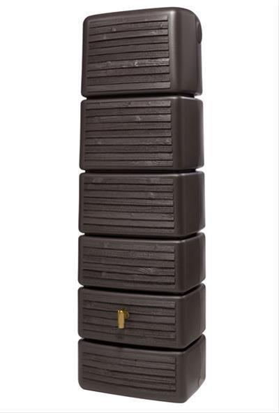 4rain Säulen-Wandtank Slim 300 Liter darkwood