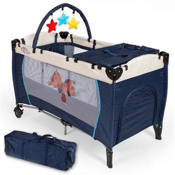 TecTake Kinderreisebett Hund mit Wickelauflage - Blau
