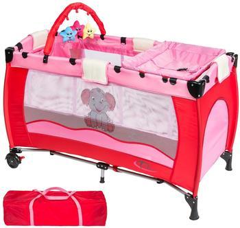 TecTake Kinderreisebett Elefant mit Wickelauflage - Pink