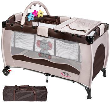 TecTake Kinderreisebett Elefant mit Wickelauflage - Braun