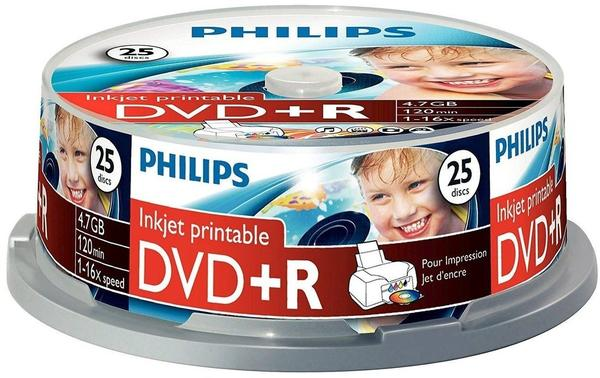 Philips DVD+R 4,7GB 120min 16x bedruckbar 25er Spindel