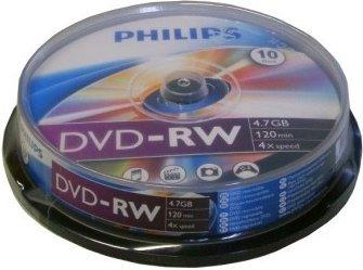 Philips DVD-RW 4,7GB 120min 4x 10er Spindel
