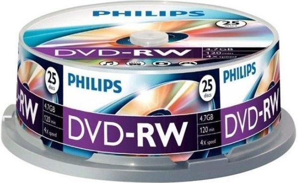 Philips DVD-RW 4,7GB 120min 4x 25er Spindel