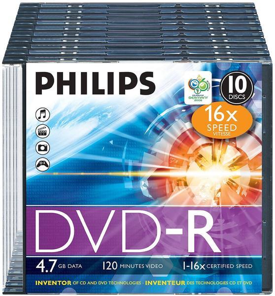 Philips DVD-R 4,7GB 120min 16x 10er Slimcase
