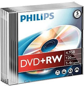 Philips DVD+RW 4,7GB 120min 4x 5er Slimcase