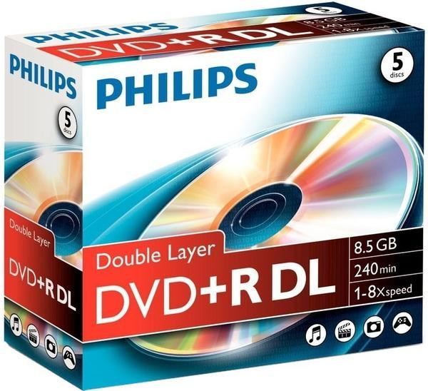 Philips DVD+R DL 8,5GB 240min 8x 5er Jewelcase