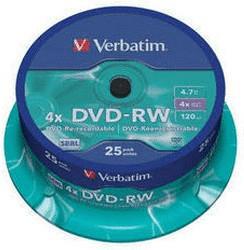 Verbatim DVD-RW 4,7GB 4x Matt 25er Spindel