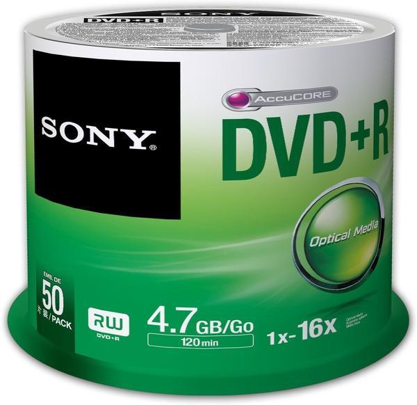 Sony 50DPR47SP DVD+R Rohlinge (16x Speed, 4,7GB, 120 Min, 50-er Stück Spindel)