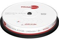 Primeon DVD+R DL 8.5GB/240Min/8x Cakebox (10 Disc) 2761254