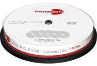 Primeon DVD+R DL 8.5GB/240Min/8x Cakebox (10 Disc) 2761250