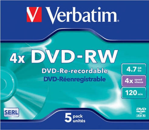Verbatim 50 Verbatim Rohlinge DVD-RW 4,7GB 4x Jewelcase