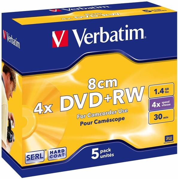 Verbatim 43565 8cm Mini Dvd+rw Rohling 1.4gb 5 St. Jewelcase Wiederbeschreibbar,