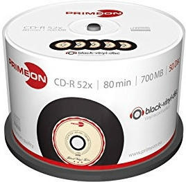 Primeon CD-R Black-Vinyl 700MB 52x 50er Cakebox