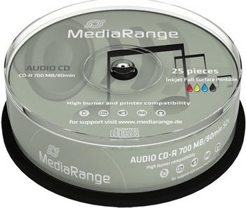 MediaRange CD-R 700mb 80min 52x Audio 25er Cakebox