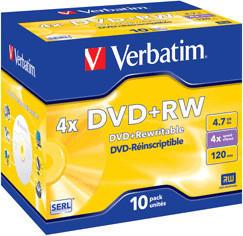 Verbatim DVD+RW 4,7GB 120min 4x Matt Silver 1er Jewelcase
