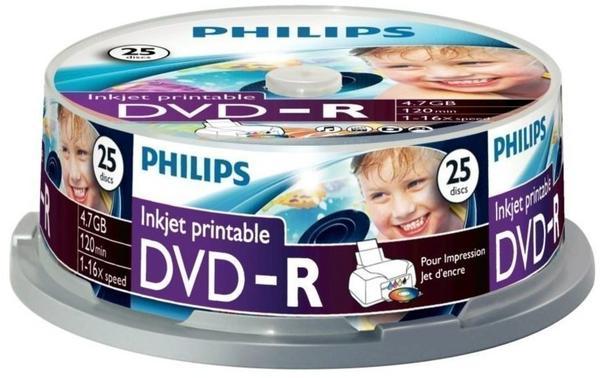 Philips DVD-R 4,7GB 120min 16x bedruckbar 25er Spindel