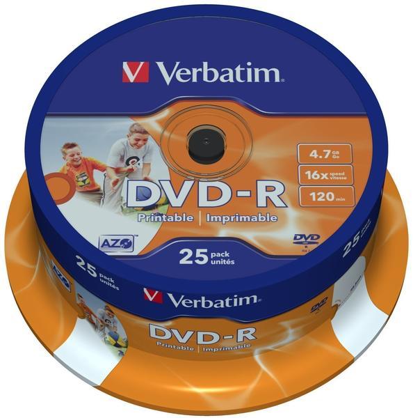 Verbatim DVD-R 4,7GB 120min 16x ganzflächig Tintenstrahl bedruckbar ID Brand bedruckbar 25er Spindel