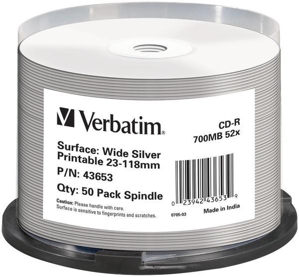 Verbatim CD-R 700MB 80min 52x Wide Silver bedruckbar No ID Brand bedruckbar 50er Spindel