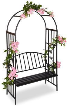Relaxdays Rosenbogen mit Sitzbank 205 x 115 x 50 cm