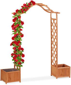 Relaxdays Holz-Rosenbogen mit 2 Pflanzkübeln 209 x 181 x 60 cm