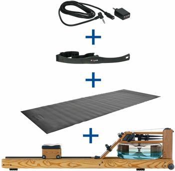Sport-Tec WaterRower Rudergerät Esche +S4 Monitor Pulsempfänger Brustgurt Bodenschutzmatte