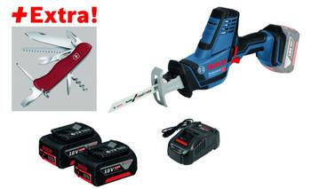 Bosch Akku-Säbelsäge GSA 18 V-LI C, 2 x 5,0 Ah-Akku, Klappmesser Victorinox in L-BOXX