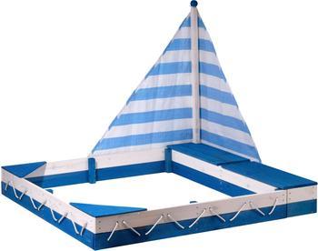 Dobar Sandkasten Maritim, mit Segel und zwei Spielzeugkisten