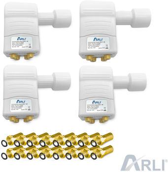 Arli 4x Slim Quad LNB + 16x F-Stecker vergoldet