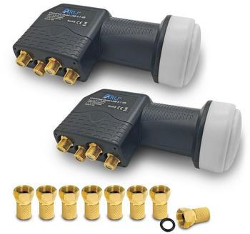 Arli 2x Quad LNB + 8x F-Stecker vergoldet