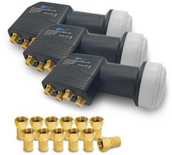 Arli 3x Quad LNB + 12x F-Stecker vergoldet