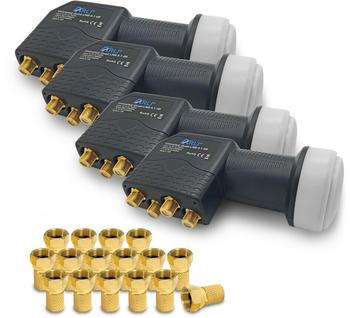 Arli 4x Quad LNB + 16x F-Stecker vergoldet