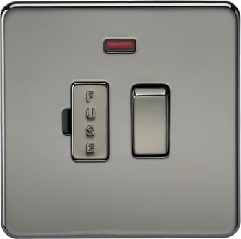 Knightsbridge Screwless 13A Switched Fused Spur Unit with Neon (SF6300N) Black Nickel