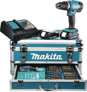 Makita DHP453RYX2 2 x 1,5 Ah + Alu-Koffer 96tlg. Set