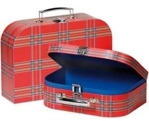 Goki Koffer im Schottenmuster mit Metallschloss (60103)