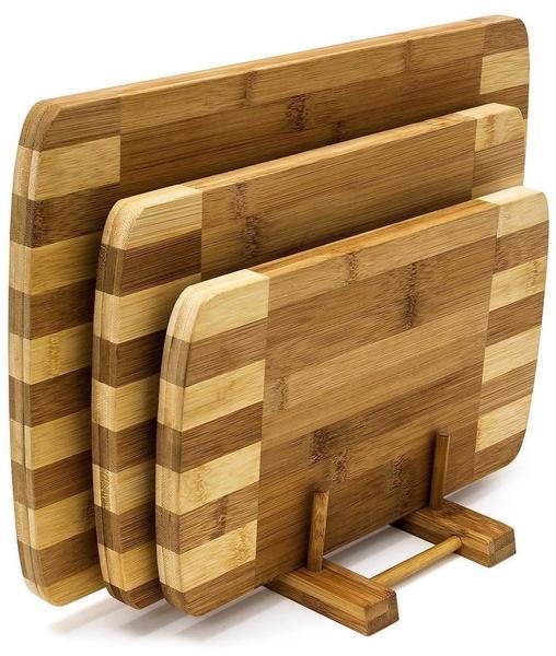 Relaxdays Bambus Set 4-teilig mit Ständer hellbraun (6910996)
