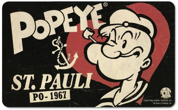 Logoshirt Frühstücksbrettchen mit Popeye-Motiv schwarz