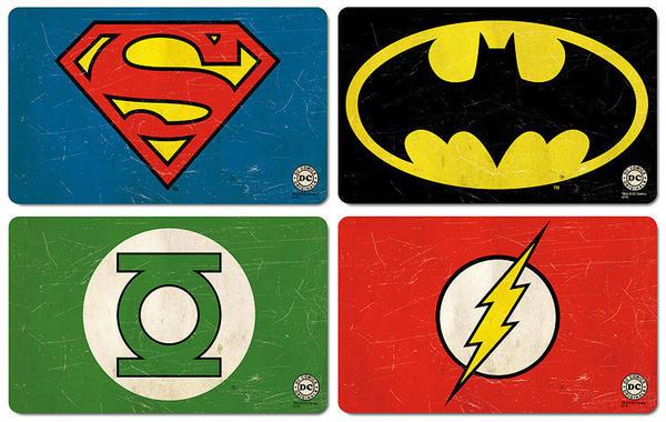 Logoshirt Frühstücksbrettchen Set mit Superheldenlogos (Set bunt
