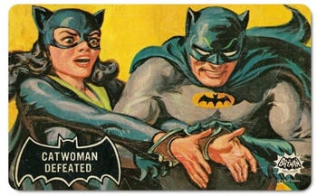logoshirt-fruehstuecksbrettchen-mit-coolem-batman-und-catwoman-print-bunt