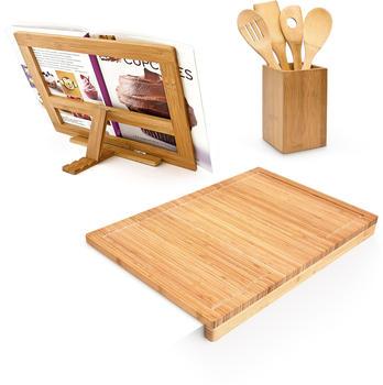 Relaxdays Küchenhelferset Bambus 3-teilig