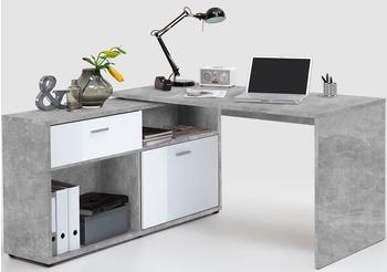 FMD Eck-Schreibtisch Diego betonfarben/weiß