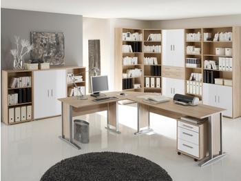 Möbel-Eins Office Line Winkelkombination Eiche Sonoma/weiß