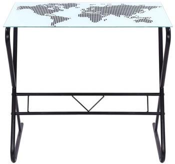 vidaXL Glass Desk World Map