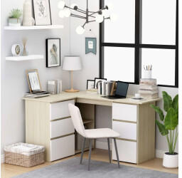vidaXL Angle Desk With Drawers White/Sonoma Oak