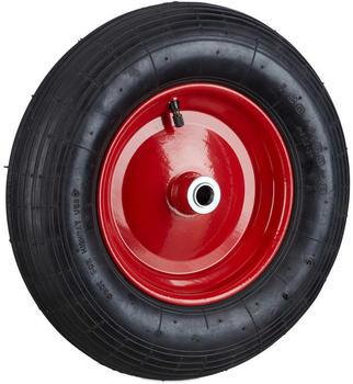 Relaxdays Schubkarrenrad 4.00-8 Luftreifen schwarz-rot