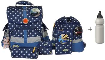 School-Mood Timeless Karo blue 7tlg. inkl. Auto Patchies
