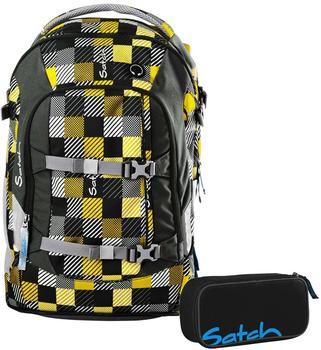 ergobag by Ergobag Schulrucksack-Set Pack 2-tlg Karo Gelb-Grau 940 gelb-grau