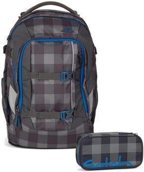 Satch by Ergobag Schulrucksack-Set Pack 2-tlg Checkplaid 9B0 grau schwarz kariert